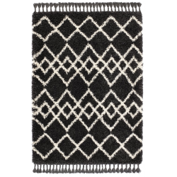 Caribou Pattern Rug, charcoal/ivory - top view