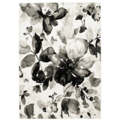 Derriton Watercolour Floral Rug, Grey - top view