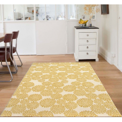Edito Yellow Blooming Flowers Rug, room setting