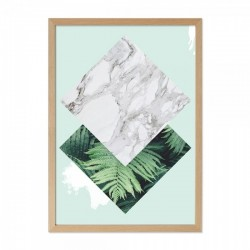 Framed diamond palm print in green with a wooden frame