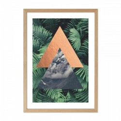 Framed tropical triangle print in green with a wooden frame