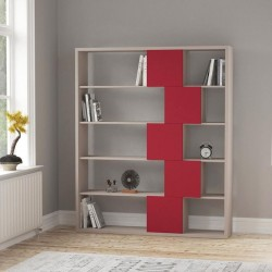 An image of Cara Bookcase Light Moca and Burgundy