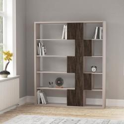 An image of Cara Bookcase Light Moca and Dark Brown