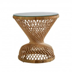 Faiza Rattan Table, natural, front view