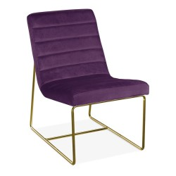 Dolcia Velvet Lounge Chair, purple front angled view