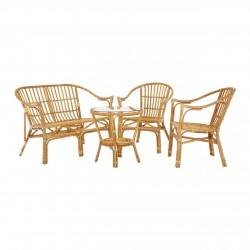 Durley 4 Piece Rattan Set, natural, full set front view