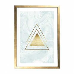 Framed triangle on marble print in gold and light blue with a wooden frame