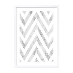 Framed marble chevron print in grey and white with a wooden frame