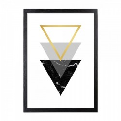 Framed triangle print in black and gold with a black wooden frame