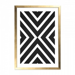 Framed Aztec print in black and white with a wooden frame