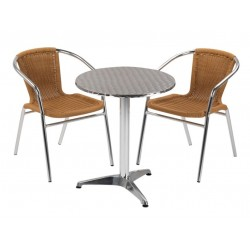 Medusa two person beige weave aluminium dining set