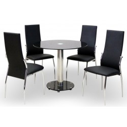 Alonzo Black Four Person Dining Set White background
