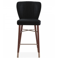Mia Velvet Upholstered Bar Stool Front  View - Black