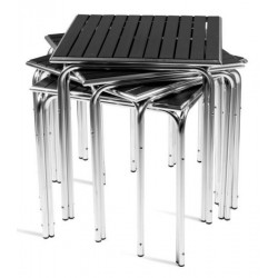 Aluminium square tables with synthetic wood