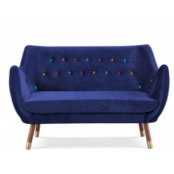 Finn Juhl inspired Poet Sofa Front view Royal Blue