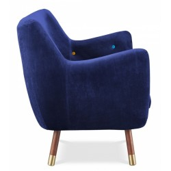 Finn Juhl inspired Poet Sofa side view Royal Blue