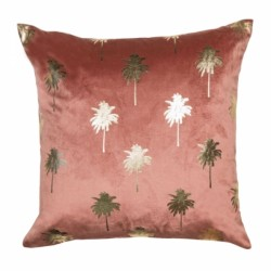 Palm Tree Motif Velvet Cushion, front view