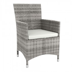 Grey rattan lounge armchair with cushion