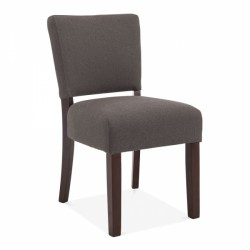 Croford Wool Upholstered Dining Chair Dark Grey Front Angled View