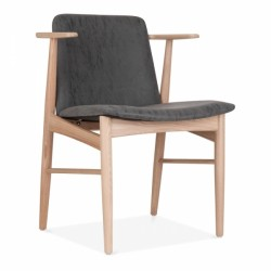 Watchet Wooden Dining Armchair Black Natural Front Angled View