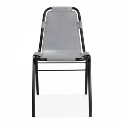 Jupiter Industrial Metal Side Chair Grey Front View