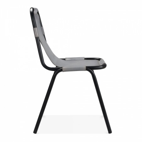 Jupiter Industrial Metal Side Chair Grey Side View