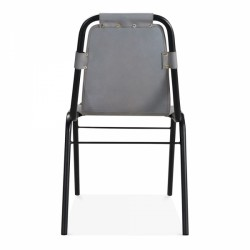 Jupiter Industrial Metal Side Chair Grey Rear View