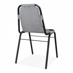 Jupiter Industrial Metal Side Chair Grey Rear Angled View