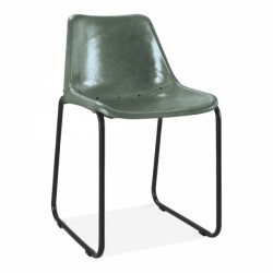 Linda Vintage Leather Chair Green Front Angled View
