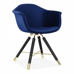 eames inspired velvet dining chair in blue velvet and black legs