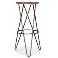 Durham Round Metal Bar Stool Rustic