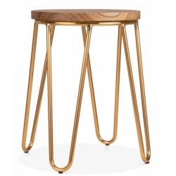 Jessie Hairpin Metal Low Stool Brass Front View