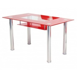 Kubica Rectangular Glass Top Dining Table  Red