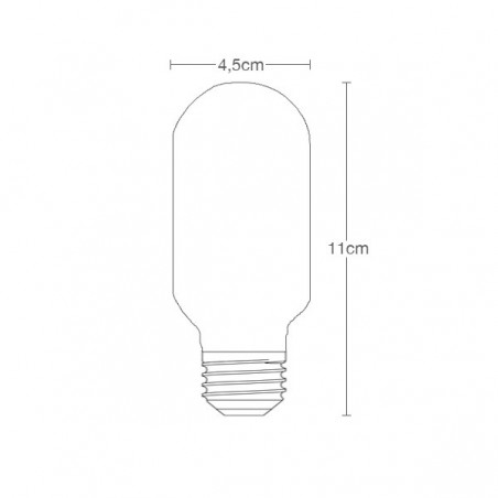 Edison LED T45 Smoked Bulb Mini Tube Filament Dimensions