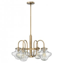 Noxen Clear Glass 4 Arm Chandelier Brushed caramel