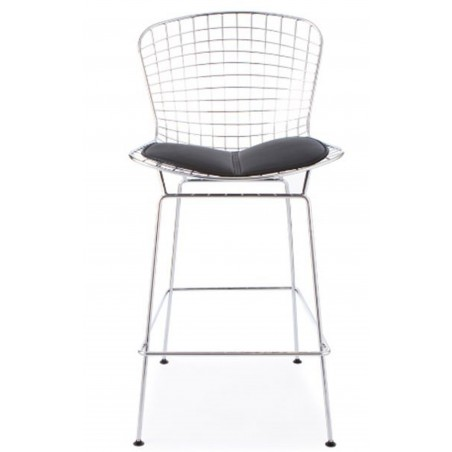 Harry Bertoia Inspired Wire Bar Stool Black Seat Front View