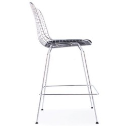 Harry Bertoia Inspired Wire Bar Stool Black Seat Side View