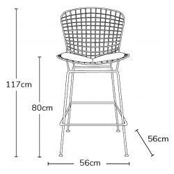 Harry Bertoia Inspired Wire Bar Stool Dimensions