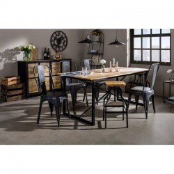 Kinver Industrial 6 Seater Dining Set With Grey Metal Chairs, room shot