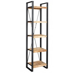 Kinver Industrial Slim Bookcase , white background