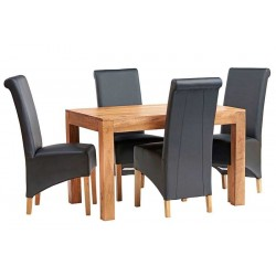 Bidar Light Mango Dining Set With Leather Chairs, white background