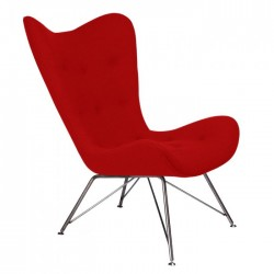 Purnu Scandi Style Lounge Chair Red Front Angled View