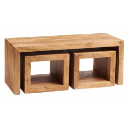 Bidar Light Mango Cubed Coffee Table Set, white background