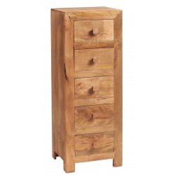Bidar Light Mango 5 Drawer Tall Chest, white back ground
