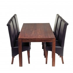 Indore Dark Mango 6FT Dining Set With Leather Chairs, white background