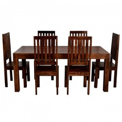 Indore Dark Mango 6FT Dining Set With Wooden Chairs, white background