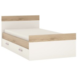 Ari Single Bed With Under Drawer With Lilac Handles, white background