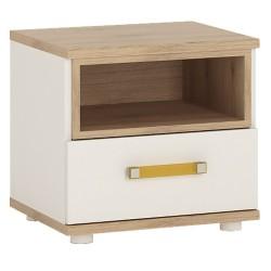 Ari 1 Drawer Bedside Cabinet with orange handle, white background