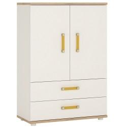 Ari 2 Door 2 Drawer Cabinet Orange Handles