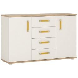 Ari 2 Door 4 Drawer Sideboard with orange handles
